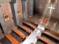情人节短片视频 花瓣飘落的婚礼教堂