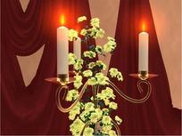 情人节短片视频 教堂旋转的鲜花白蜡烛台