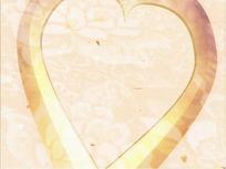 情人节短片视频 朦胧金色的爱心和飘落的红心