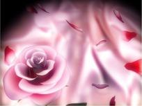 情人节短片视频 旋转的粉红玫瑰和飘散的花瓣
