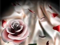 情人节短片视频 转动的粉色玫瑰花和飘动的花瓣