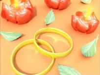 情人节视频 红色花朵蜡烛和一对金色的手镯