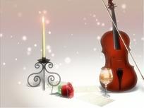 情人节视频 浪漫星光前的烛台玫瑰小提琴和香槟