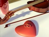 情人节视频 小提琴弓弦和红心上的一对婚戒