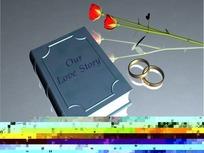 情人节视频 旋转的爱情书籍和婚戒玫瑰花