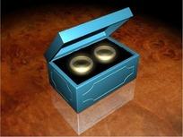 情人节视频 旋转的首饰盒里的一对黄金婚戒