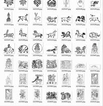 中国古典图案合辑-莲花古代人老虎等图案