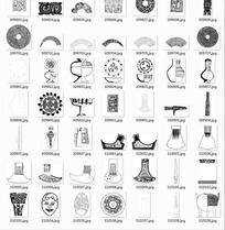 中国古典图案合辑-青铜器人头像等图案