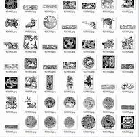 中国古典图案合辑-小鸟兔子老虎头等图案