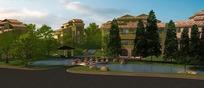 3D效果图—蓝天下的建筑和绿树水池道路