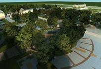 3D效果图—平坦的广场和绿树俯瞰图