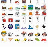 插画—风车房屋和汽车合辑