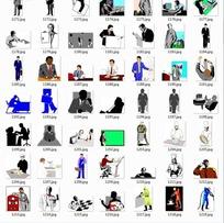 插画—工作中的男人商务男士拿着调色板的人合辑