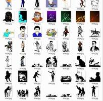 插画—黑色人物剪影骑马的人合辑