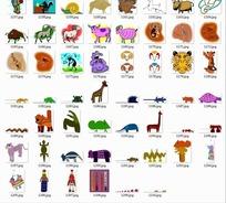 卡通动物合辑--羚羊老虎长颈鹿等