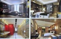 3D效果图—简约大方的卧室和卫生间