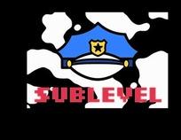 卡通插画 蓝色警察帽子的sublevel 标志