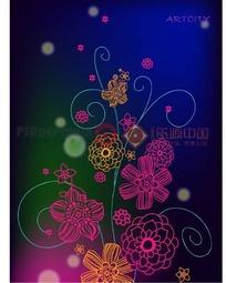 花卉插画—渐变背景上的蓝色枝条和粉色橙色花朵