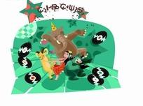 卡通人物插画-大象和老鼠和美女