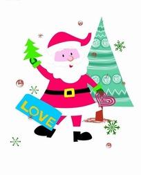 卡通人物插画-圣诞老人和圣诞树
