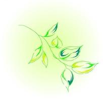 手绘散落的层次绿色叶子图片