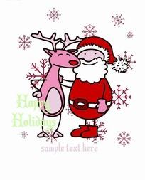 卡通人物插画-圣诞老人和糜鹿
