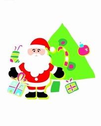 卡通人物插画-圣诞老人和圣诞树礼物