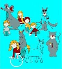 矢量卡通插画-驴和猫小男孩小女孩