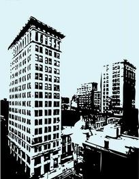 黑白彩色高大建筑