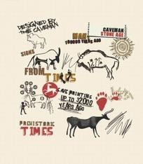 线稿牛脚印和狩猎