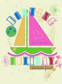 彩块图案组成的小船