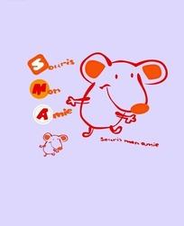 矢量印花图案-描红边的老鼠