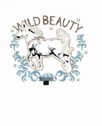 矢量印花图案-系丝巾的马和欧式花纹