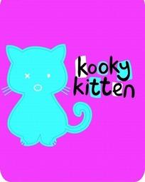 粉色背景上的英文和蓝色卡通猫