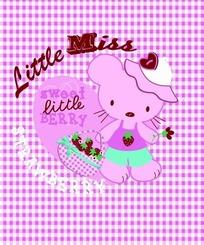 粉色格子背景上戴帽子的卡通猫