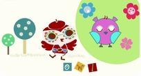 花朵树木和可爱的小鸟卡通画
