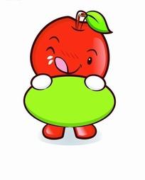卡通人物插画-伸出舌头的卡通苹果