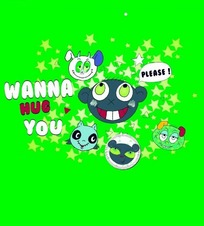 绿色背景上的五角星和卡通动物头像