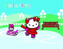 拉雪橇的凯蒂猫卡通画