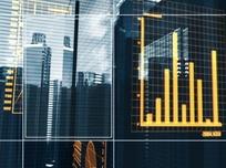 扫描数据图表背后的现代高楼
