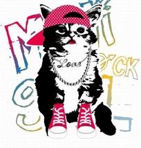 矢量印花图案-布鞋和戴帽子的猫