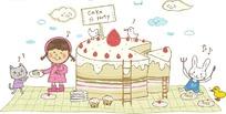 蛋糕边吃蛋糕的女孩和动物卡通画