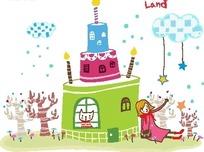 蛋糕屋里的猫和靠着蛋糕的女孩卡通画