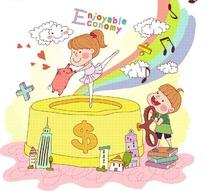 金色柱形上跳舞的女孩和小猪以及书本上的男孩卡通画