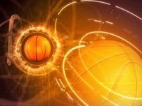 散发金光飞入画面的篮球