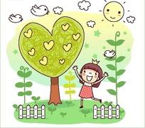 矢量卡通插画-心形树下跳舞的小女孩