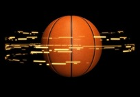 旋转光芒围绕的篮球