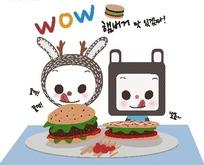 吃汉堡的小猫和小兔子