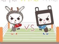 打拳击的小猫和小白兔