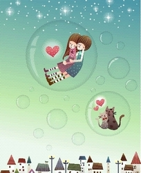 卡通泡泡里可爱小情侣和小猫咪